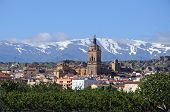 View of town and mountains, Guadix, Spain.