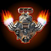 picture of muscle-car  - Cartoon Turbo Engine - JPG
