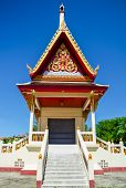 image of crematory  - The buddhist crematory in Thai temple with blue sky background - JPG