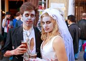 Zombie Bride And Groom Enjoy A Cold Beer