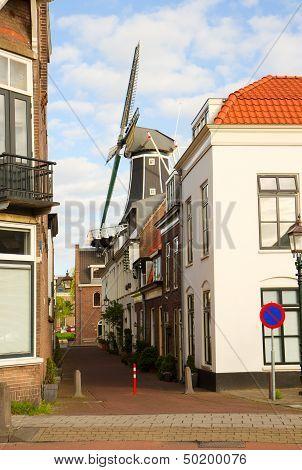 Adriaan windmill over street, Haarlem