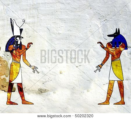 Background with Egyptian gods images - Anubis and Horus
