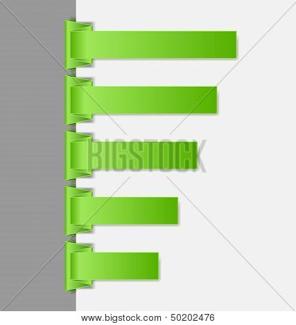 Green Folded Paper Navigation Menu Backgrounds