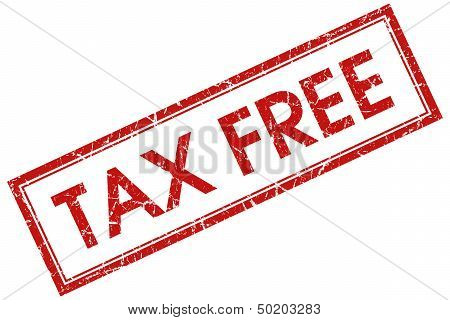 Tax Free Red Square Stamp