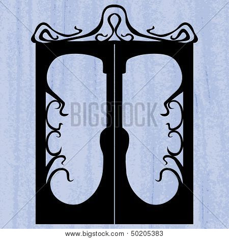 Silhouette Of Door On The Scratched Background