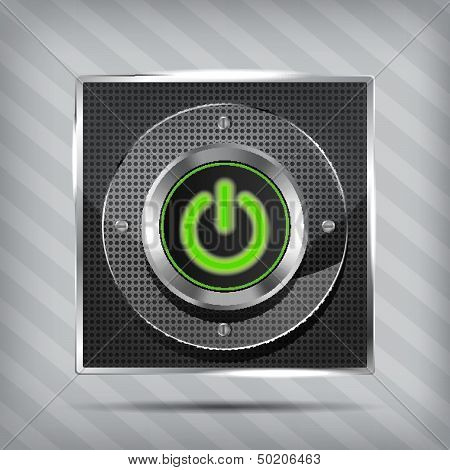 metallic green power button icon on the striped background