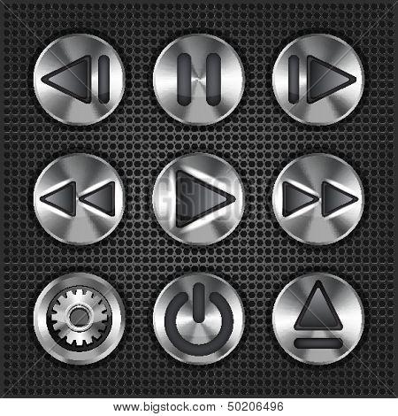 Set of stylish vector multimedia metallic knob buttons