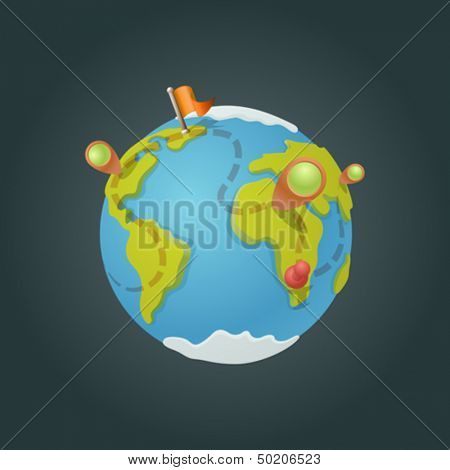 World map globe cartoon fun vector. Funny game style. Navigation icons creative design concept.