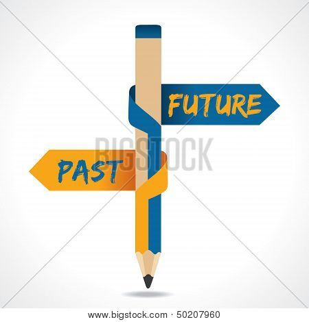 PAST & FUTURE arrow in opposite of pencil stock vetor