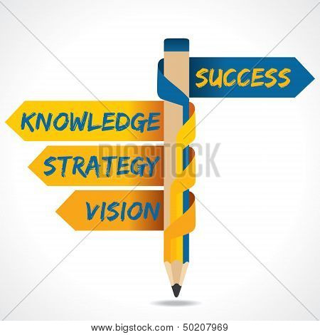 Business texts and success arrow in opposite of pencil