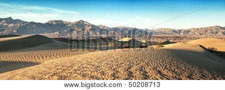 A panorama of the Mesquite sand dunes of Death Valley, California, USA