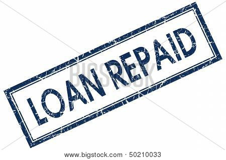 Loan Repaid Blue Rectangle Stamp