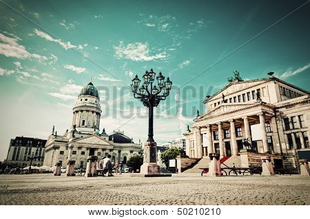 Gendarmenmarkt in Berlin, Germany. View on German Cathedral and Konzerthaus. Retro, vintage