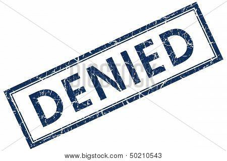 Denied Blue Rectangular Stamp