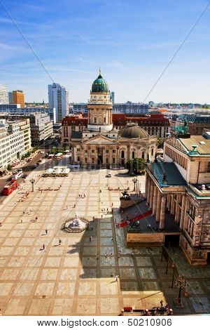 Gendarmenmarkt and German Cathedral from the top of French Cathedral, Berlin, Germany. Vertical view