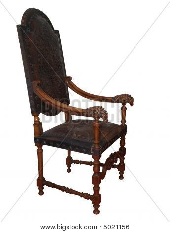 Ornate Antique Leather Chair
