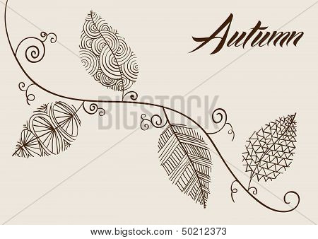 Autumn Text With Vintage Leaves Curly Branch Background. Eps10 File.