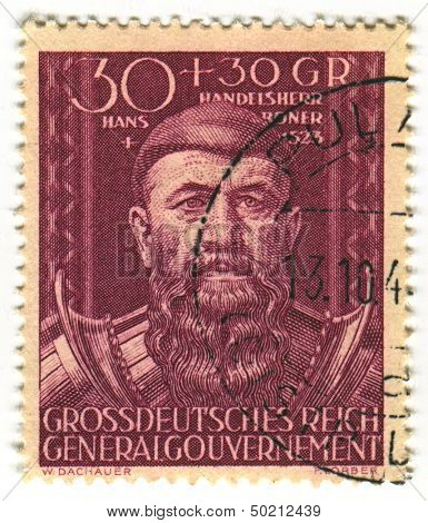 DEUTSCHES REICH  - CIRCA 1944: A stamp printed in Deutsches Reich shows image of the Hans Boner (before 1463 - 1523), also known as Jan Boner, was a German-born Polish merchant and banker, circa 1944.
