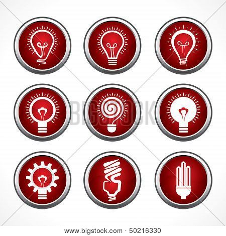 Set of electric bulb symbols and icons