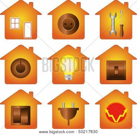 set of electrical equipment on house silhouette