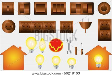 set isolated objects of electrical equipment