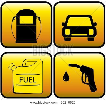 icons - jerry can, car and close up of gas station
