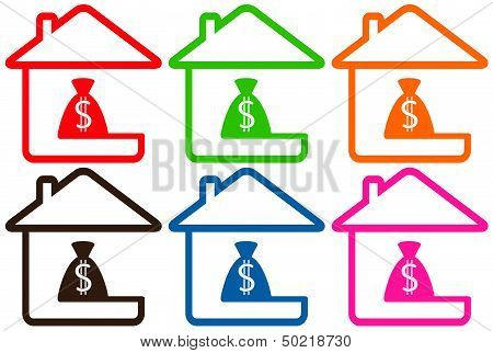 set houses with money bag
