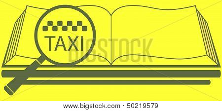 book with magnifier and taxi symbol