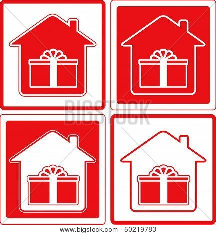 shipping symbol with house and gift silhouette