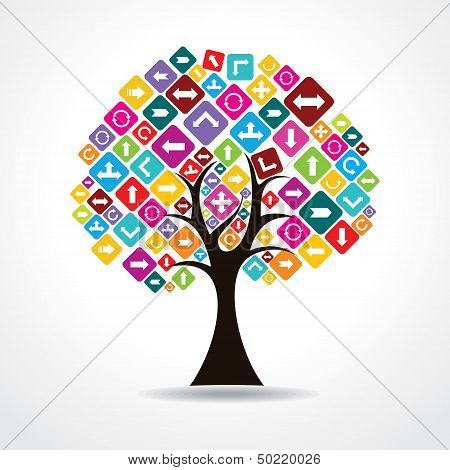 tree with colorful arrow icons