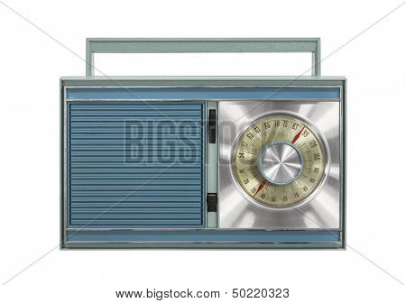 Vintage portable radio isolated with clipping path.