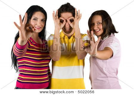 Happy People Showing Okay Sign