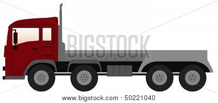 empty truck with red cabin