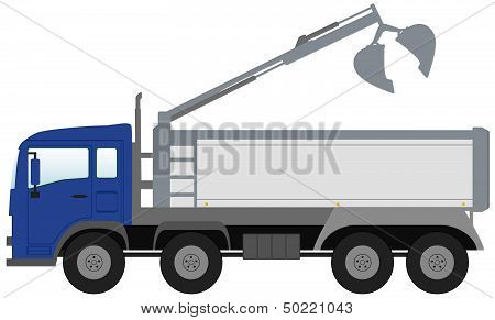 bucket truck with blue cabin