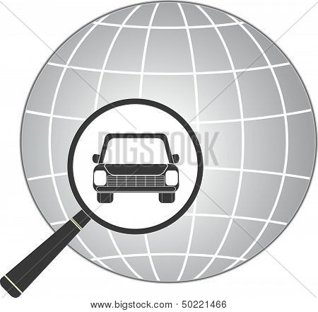 jeep car in magnifier on planet background