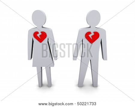 Man and woman with broken hearts. Concept 3D illustration.