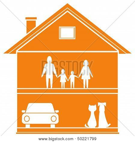 cottage symbol with house and happy family