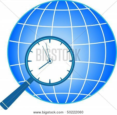 icon with magnifier, clock and planet