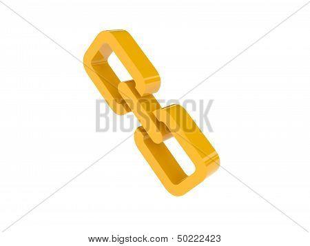 Golden link icon over white background. Concept 3D illustration.