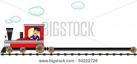 happy conductor with empty wagon
