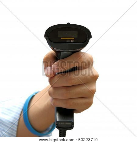 Holding Barcode Scanner Isolated Over White Background