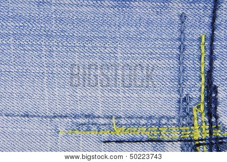 Blue denim jeans seam border texture