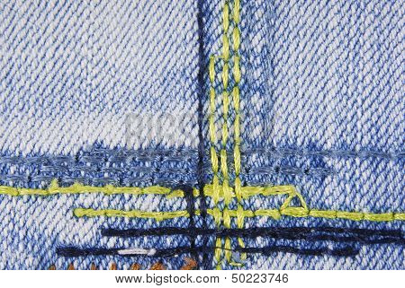 Blue denim jeans seam texture