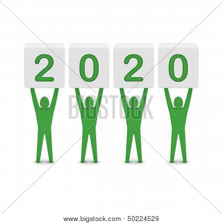 Men holding the 2020 year.