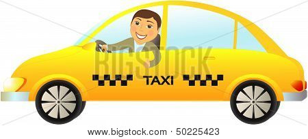 taxi car with driver thumb up