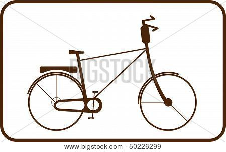 brown bike on white background in frame