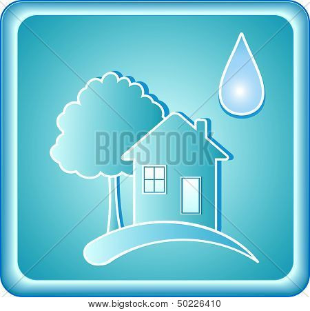 blue water sign with house and tree