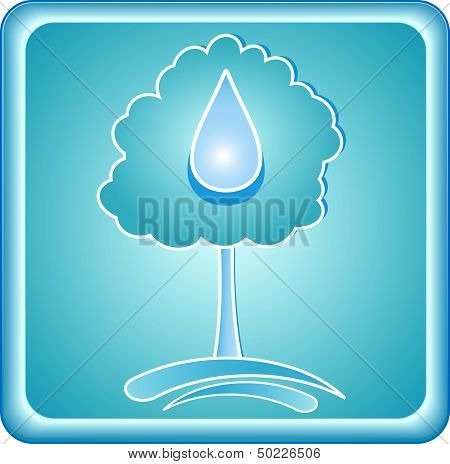 blue symbol with tree and drop