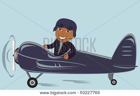afro american pilot in plane