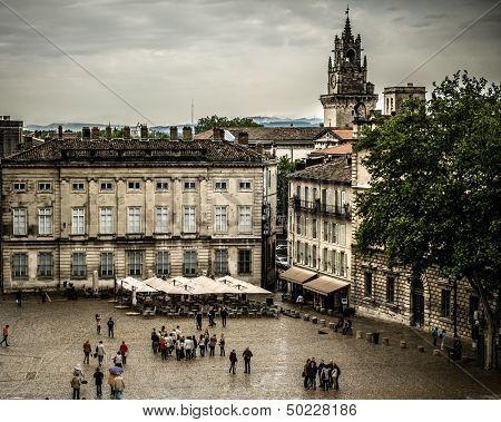 Square near Palais des Papes in Avignon, France